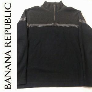 Banana Republic Zip Gray & Blue XL Striped Sweater